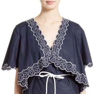 navy embroidered scalloped cotton poplin cape